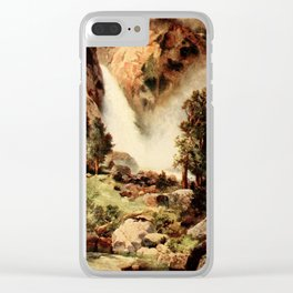 Moran, Thomas (1837-1926)  - Three wonderlands of the American West 1912 - Cascade Falls, Yosem Clear iPhone Case