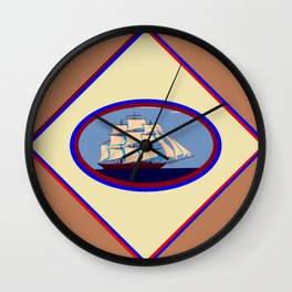 A Nautical Scene with Clipper Ship with Taupe Background Wall Clock
