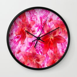 Peony And Lily Flower Bouquet In Vibrant Pink And Red Colors #decor #society6 #homedecor Wall Clock