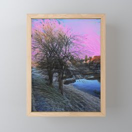 Winter Scene by the Canal Framed Mini Art Print