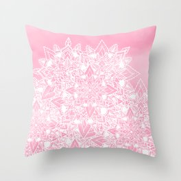 Modern white floral lace mandala pink watercolor illustration pattern Throw Pillow