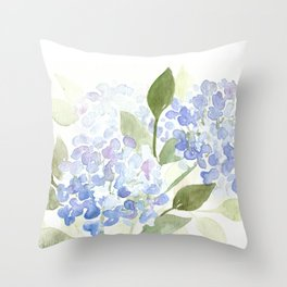 Blue Hydrangeas - Watercolor Flowers Throw Pillow