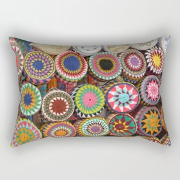 Bright Colored Hats in Cairo Egypt Market Rectangular Pillow