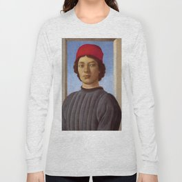 "Sandro Botticelli ""Portrait of a young man with red hat"" Long Sleeve T-shirt"