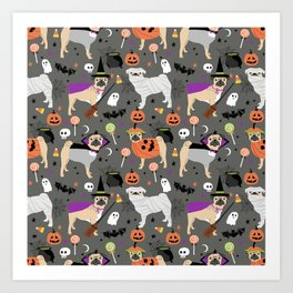 Pug halloween costumes mummy witch vampire pug dog breed pattern by pet friendly Art Print