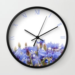 Bunch of blue cornflowers heads Wall Clock