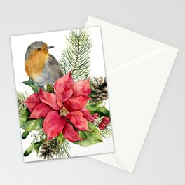 Merry Christmas. Watercolor Stationery Cards