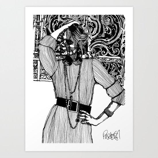 B&W Fashion Illustration - Pin Striped Art Print