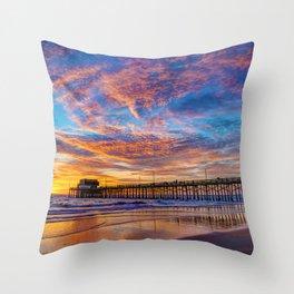 Painted Sky Over Newport Pier Throw Pillow