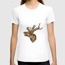 Red Deer Stag Head Roaring Drawing T-shirt