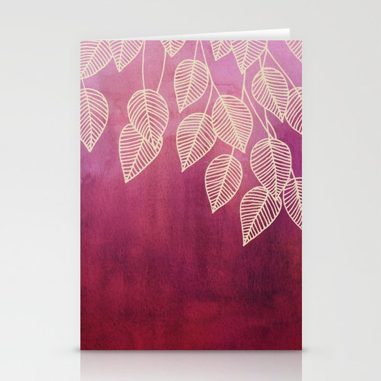 Magenta Garden - watercolor & ink leaves Stationery Cards