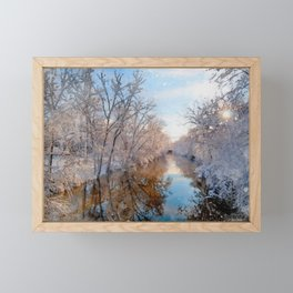 The Red Cedar River in Winter at Michigan State University Framed Mini Art Print