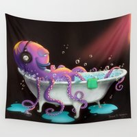 bath Wall Tapestries featuring Octo Bath by Dana Alfonso