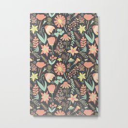 Peachy Keen Wildflowers Metal Print