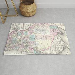 Vintage Map of Wisconsin (1855) Rug