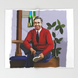 Will You Be My Neighbor Mr Rogers Fan Art Illustration Throw Blanket