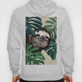Sneaky Sloth with Monstera Hoodie