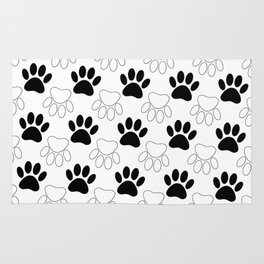 Black And White Dog Paw Print Pattern Rug