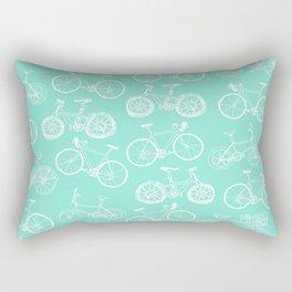 Bicycle Pattern Aqua Rectangular Pillow