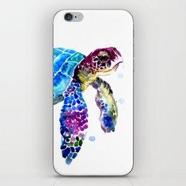 Sea Turtle, Blue Purple Turtle illustration, Sea Turtle design iPhone Skin