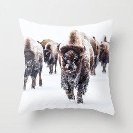 Bison Herd Through The Snow Throw Pillow