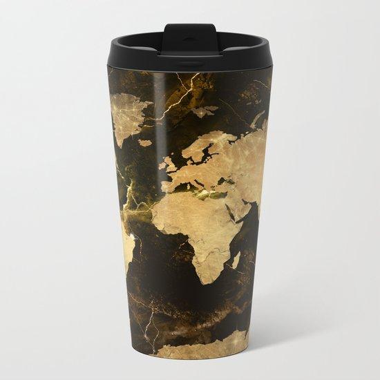 world map marble 5 Metal Travel Mug