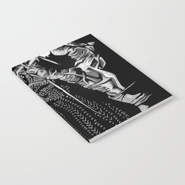 Geometric Black and White Drawing Kitting Hands Notebook