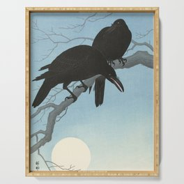 Two crows on a branch, Ohara Koson, 1927 Serving Tray