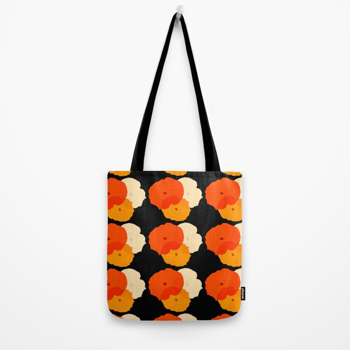 Retro Poppies orange yellow with black background Tote Bag