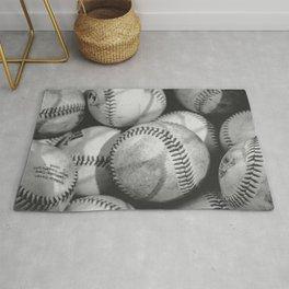 Baseballs in Black and White Rug