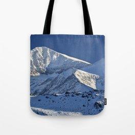 Snowy mountains. 3.478 meters Tote Bag