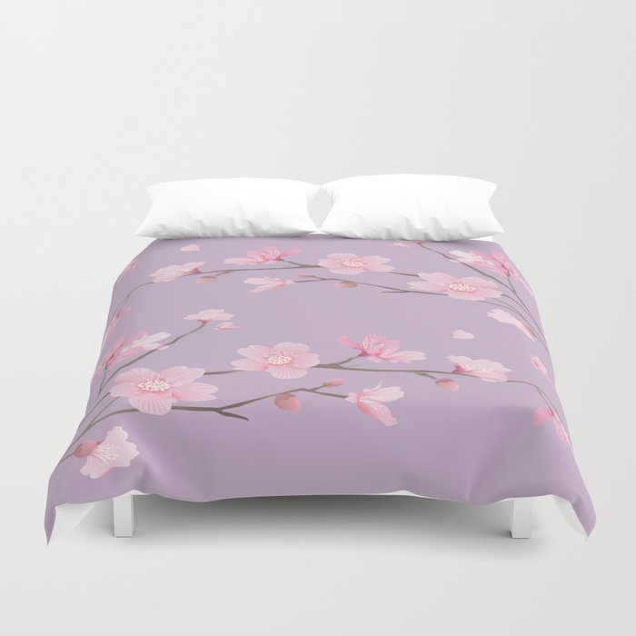 Cherry Blossom - Pale Purple Duvet Cover