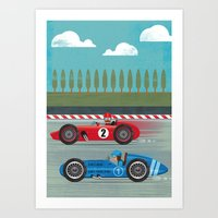 racing Art Prints featuring Retro Racing by we are 3 fish