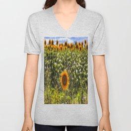 The Lonesome Sunflower Unisex V-Neck