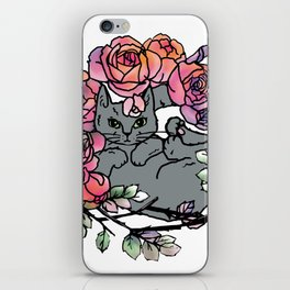 Rose Bed Cat iPhone Skin