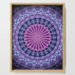 Pretty mandala in blue and violet tones Serving Tray