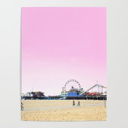 Santa Monica Pier with Ferries Wheel and Roller Coaster Against a Pink Sky Poster