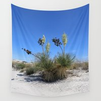 dune Wall Tapestries featuring White Sands Dune With Soap Yucca by Christiane W. Schulze Art and Photograph