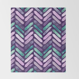 Love More Crystals Collection in Purple Chevron - Amethyst, Rose Quartz, Emerald Calcite, Rainbow Throw Blanket