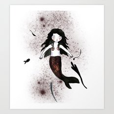 Noir Mermaid Art Print