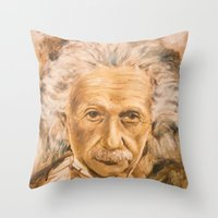 einstein Throw Pillows featuring Einstein by Les Joanneries & Jacques Lajeunesse