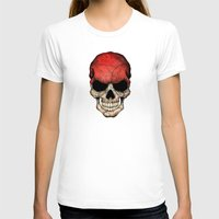 indonesia T-shirts featuring Dark Skull with Flag of Indonesia by Jeff Bartels