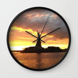 Statue at Sunset Wall Clock