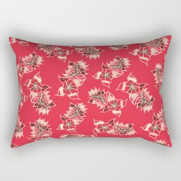 Boho red floral pattern hand drawn Rectangular Pillow
