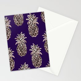 Gold Pineapples on purple Stationery Cards