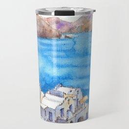 Greece ink & watercolor illustration Travel Mug
