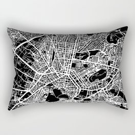 """"""" Travel Collection"""" - Black And White Minimal Athens City Map Rectangular Pillow"""