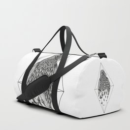 Geometric Crow in a diamond (tattoo style - black and white version) Duffle Bag