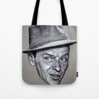 frank sinatra Tote Bags featuring FRANK SINATRA by Jahwan by JAHWAN