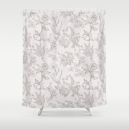 East Coast Forest Vibes Pattern Rose Gold Shower Curtain